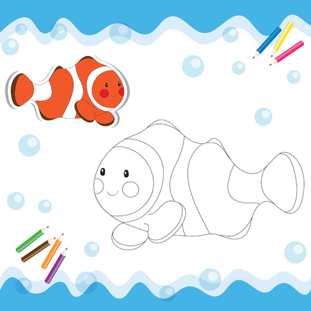 Cartoon clownfish isolated on white. Coloring book. Vector illustration.