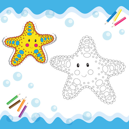 Cartoon starfish isolated on white. Coloring book. Vector illustration.
