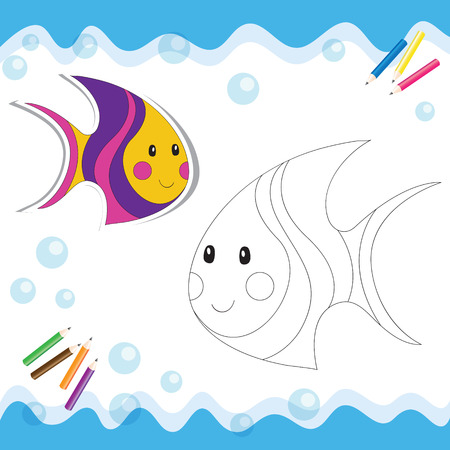 Cartoon sea fish isolated on white. Coloring book. Vector illustration.