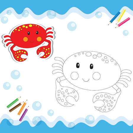 Cartoon crab isolated on white. Coloring book. Vector illustration. Ilustracja