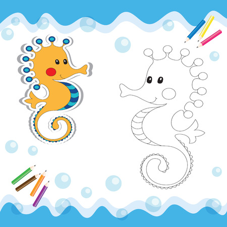 Cartoon seahorse isolated on white. Coloring book. Vector illustration. Ilustracja