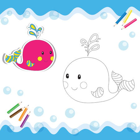 Cartoon whale isolated on white. Coloring book. Vector illustration. Ilustracja