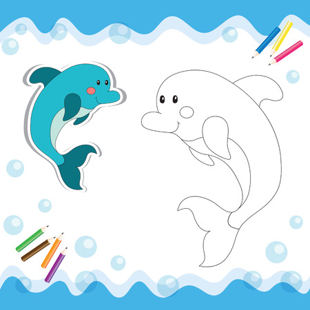 Cartoon dolphin isolated on white. Coloring book. Vector illustration. Stock Illustratie