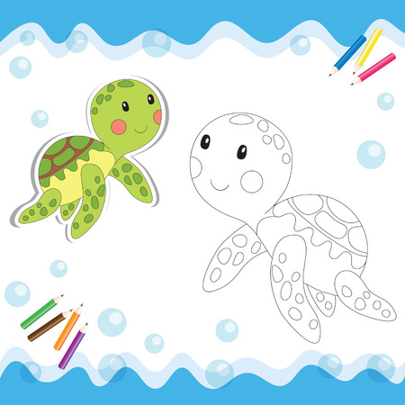 children swimming: Cartoon turtle isolated on white. Coloring book. Vector illustration.