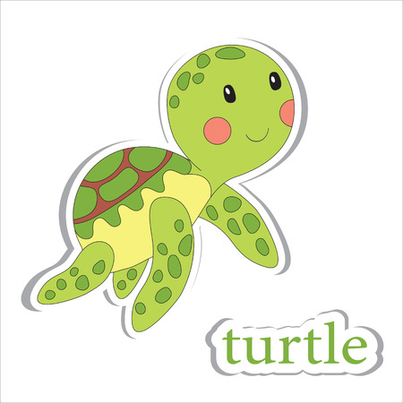 aquarium: Cartoon turtle isolated on white. Coloring book. Vector illustration.