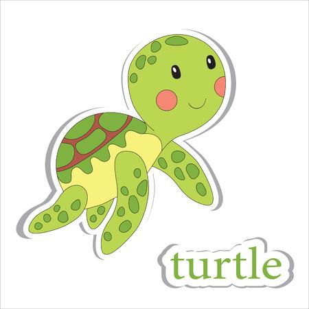 poisson aquarium: tortue de bande dessin�e isol� sur blanc. Livre � colorier. Vector illustration.