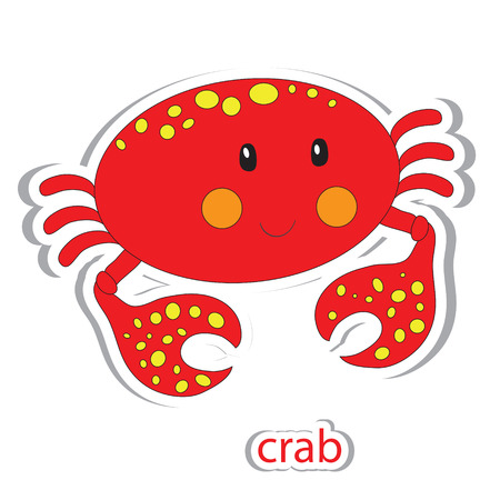 soldier fish: Cartoon crab isolated on white. Coloring book. Vector illustration. Illustration