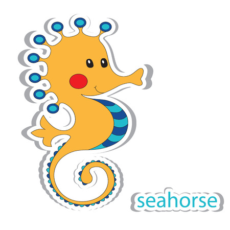 funny baby: Cartoon seahorse isolated on white. Coloring book. Vector illustration. Illustration