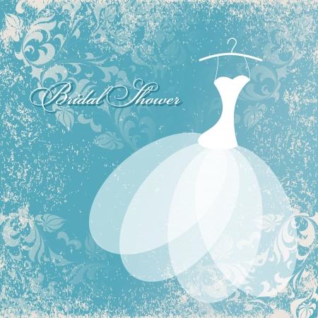 Belle carte d'invitation avec la robe de mariage sur cintres, éléments floraux vintage sur papier texturé grunge. Banque d'images - 22815510