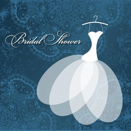 suknia ślubna: Piękna karta zaproszenie z sukni ślubnej na wieszakach, zabytkowe elementy kwiatowe na grunge teksturą papieru. Ilustracja