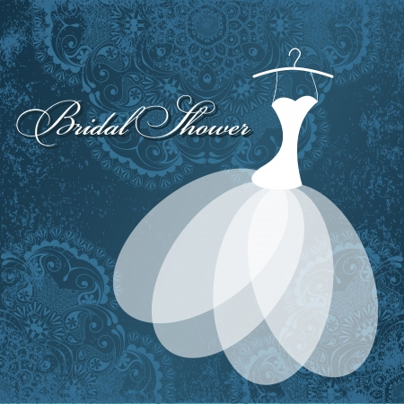ramos de flores: Tarjeta de invitaci�n hermosa con el vestido de boda en perchas, elementos florales vintage sobre papel con textura grunge.
