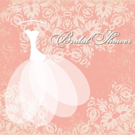 美しい招待状カード ハンガーにウェディング ドレス、グランジのヴィンテージ花要素をテクスチャ紙。