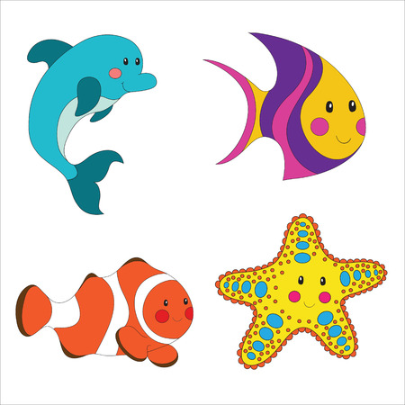 Set of cartoon sea creatures isolated on white. Stock Vector - 22813353