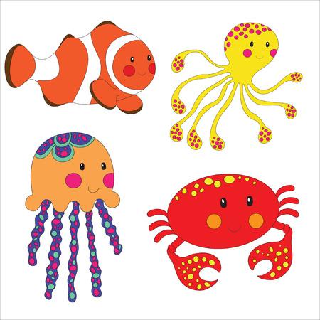 Set of cartoon sea creatures isolated on white.  Illustration