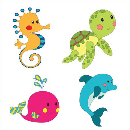 tortuga caricatura: Conjunto de criaturas marinas de dibujos animados aislado en blanco. Vectores
