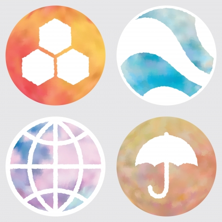 Web and mobile apps circle watercolor buttons set.  All elements are in separate layers for easy using.   Vector