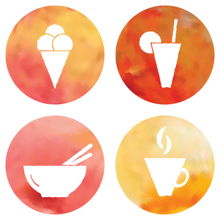 Web and mobile apps circle watercolor buttons set.  All elements are in separate layers for easy using.