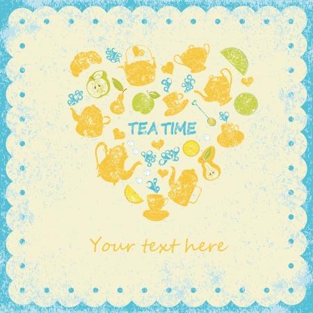 Tea time card. Vecror illustration Ilustrace