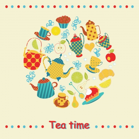 Tea time card. Vecror illustration Vector