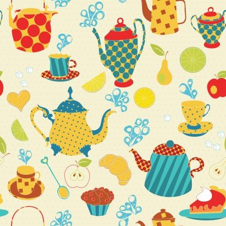 Tea time seamless pattern Ilustracja