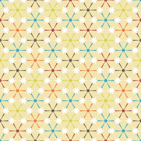 Abstract  retro geometric seamless pattern. Multicolored circles and triangles.  Vector