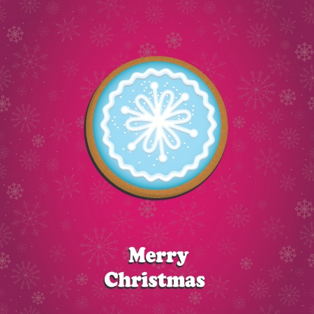 Merry Christmas Greeting Card with cookie Illustration