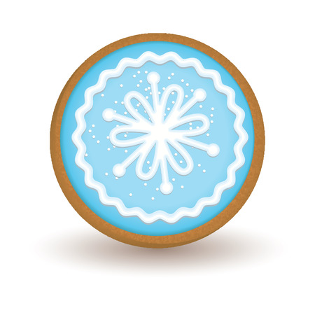 christmas cookie: Gingerbread Christmas cookie isolated on white background. Illustration