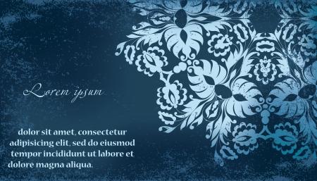 textured paper: Beautiful invitation card with vintage floral elements on grunge textured paper. Seamless vintage floral oriental border. Vector illustration. Illustration