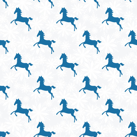 Snowflake seamless pattern. Horse silhouette. Geometric shape snowflakes. Vector illustration.  Holiday design. Winter. Merry Christmas card design Vector