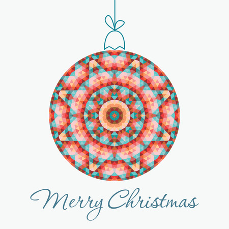Merry Christmas Greeting Card with snowball made of triangles . Geometric shape snowball. Vector illustration.  Holiday design. Winter. Vector