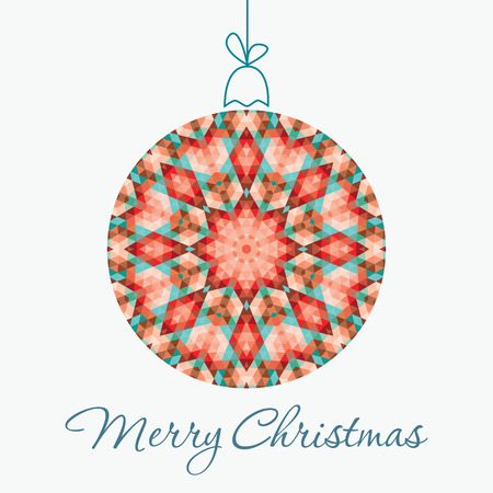 Merry Christmas Greeting Card with snowball made of triangles . Geometric shape snowball. Vector illustration.  Holiday design. Winter.
