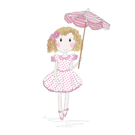 Cute little girl with umbrella isolated on white. Hand-drowing vector illustration.