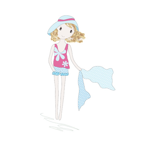 accessory: Cute little girl with scarf  isolated on white. Hand-drowing vector illustration.