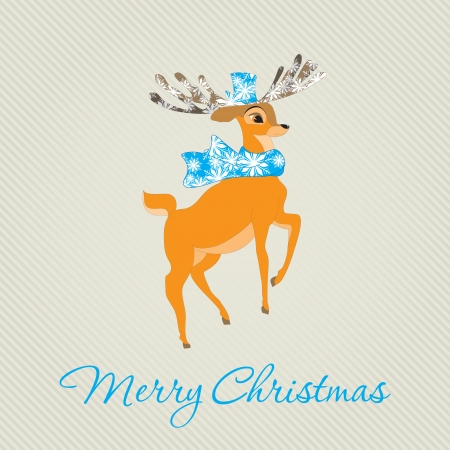 Merry Christmas Greeting Card with deer. Vector illustration.  Holiday design. Winter. Vector