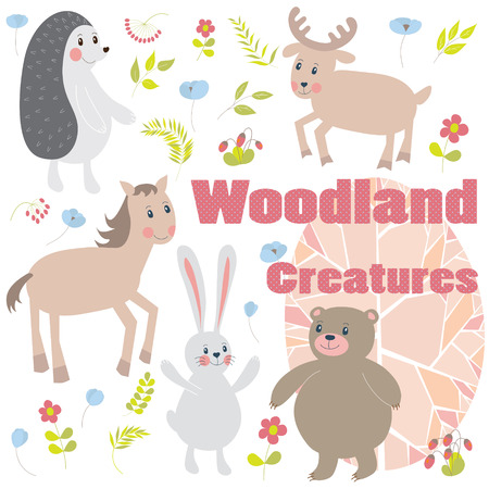 Cute floral set with forest animals: bear,  rabbit, elk, horse,  hedgehog.  Vector illustration. Vector