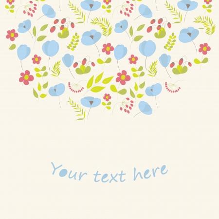 Cute floral card.  Vector illustration. Illustration