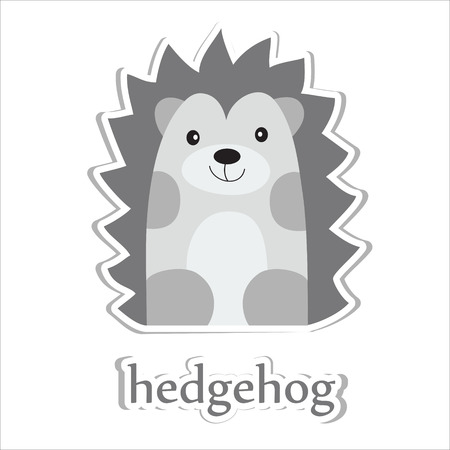Cartoon hedgehog isolated on white. Education design. Vector illustration. Vector
