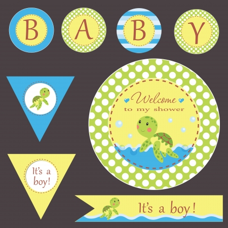 Baby shower invitation template. Vector illustration. Cute design for greeting card, birthday invitation, scrapbook, baby shower. Vector