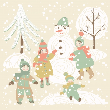 Winter background with children and snowman. Holiday design. Vector illustration. Vector