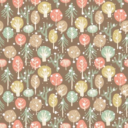 winter tree: Winter forest seamless pattern. Childish background. Holiday design. Vector illustration.
