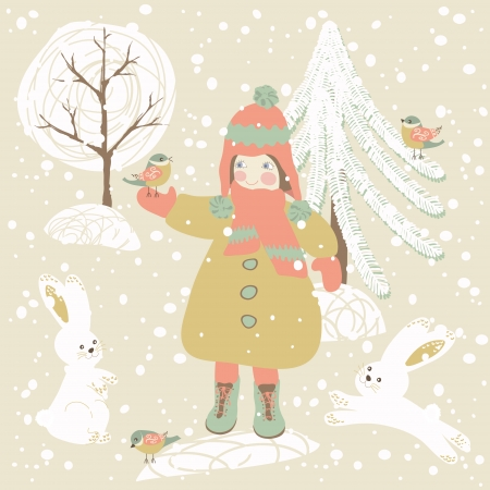 Winter background with child, rabbits and birds. Holiday design. Vector illustration. Vector
