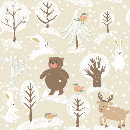 Winter seamless pattern with animals.  Holiday design. Vector illustration.  Vettoriali
