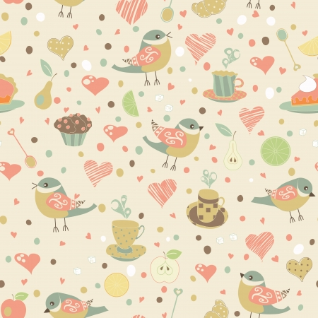 Seamless pattern with birds and tea cups. Holiday design. Vector illustration. Vettoriali