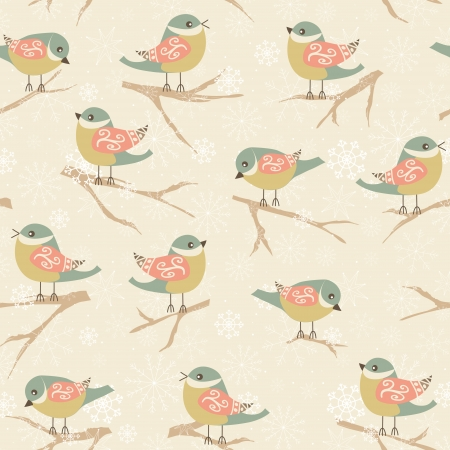 Winter seamless pattern with birds. Holiday design. Vector illustration.