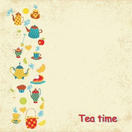 Tea time card. Vecror illustration Vector