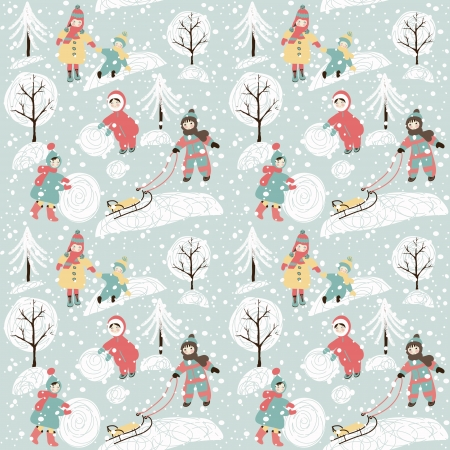 Winter background with children. Holiday design. Vector illustration. Vector