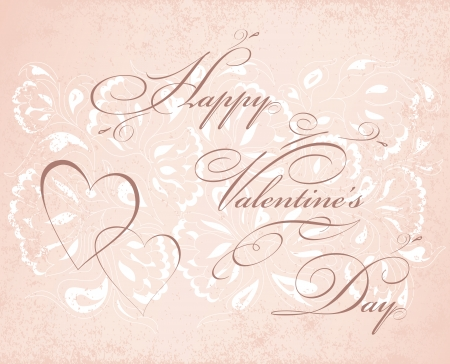 Happy valentines day card. Vintage  background with floral elements. Vector