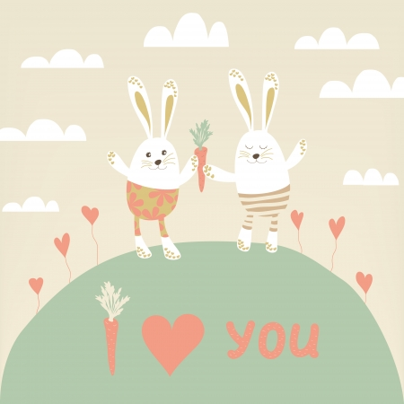 Romantic card with cute rabbits in love.  Happy hares with carrots. Valentines day card design. Vector illustration. Vector