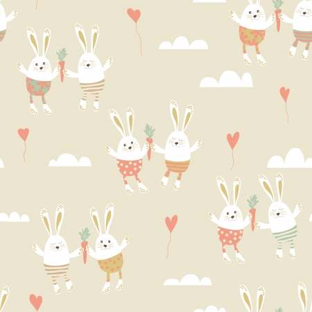 happy couple: Romantic seamless pattern with cute rabbits in love.  Happy hares with carrots, hearts and clouds. Valentines day card design. Vector illustration.