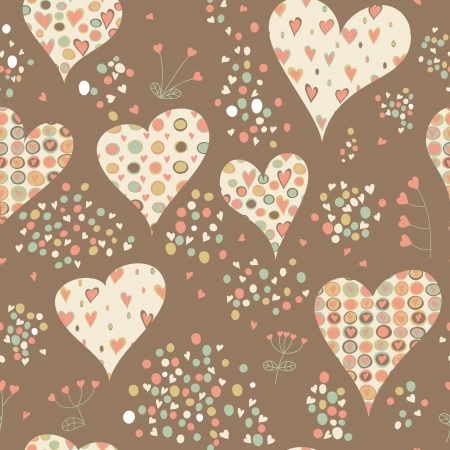 Cartoon hearts and circles seamless pattern. Valentines day card design.  矢量图像